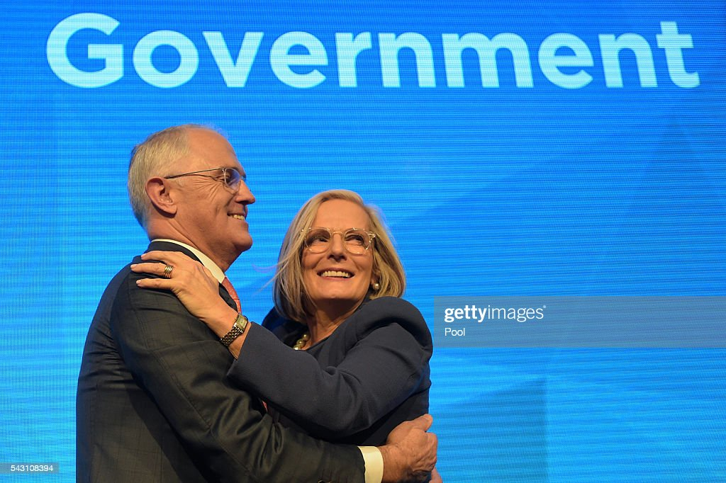 Australian Prime Minister Malcolm Turnbull is congratulated by his wife Lucy after addressing party members at the Coalition Campaign Launch in Sydney, Sunday, June 26, 2016. A federal election will be held in Australia on Saturday July 2.