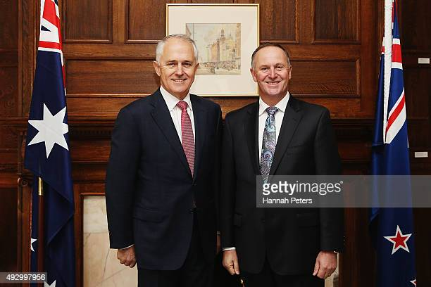 Australian Prime Minister Malcolm Turnbull is welcomed by New Zealand Prime Minister John Key at Government House on October 17 2015 in Auckland New...