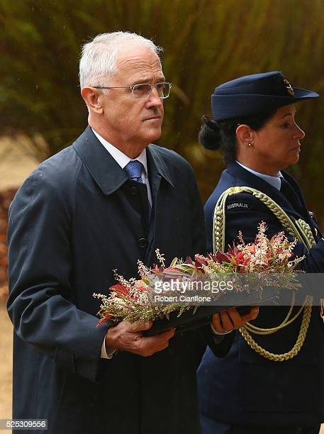 Australian Prime Minister Malcolm Turnbull lays a wreath during the 20th anniversary commemoration service of the Port Arthur massacre on April 28...