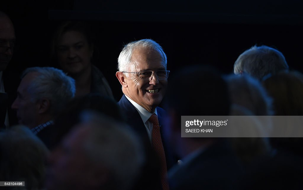 Australian Prime Minister Malcolm Turnbull leaves after his address at the Coalition Campaign launch in Sydney on June 26, 2016. Turnbull used the chaos from Brexit to make a pitch for Australians to re-elect his coalition government, promising stability and strong economic leadership a week out from national polls to be held on July 2. / AFP / SAEED