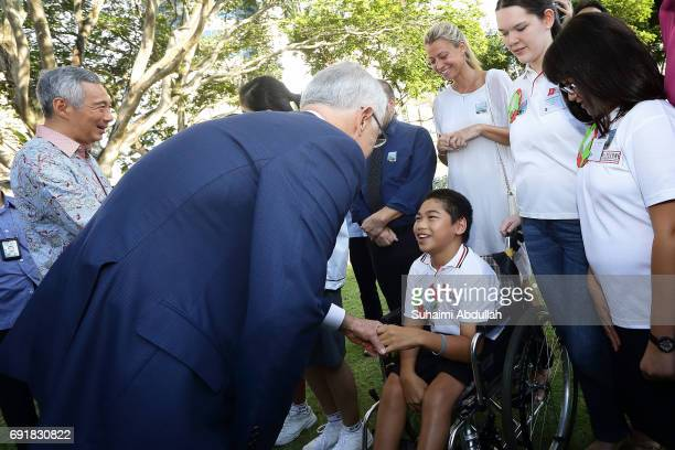 Australian Prime Minister Malcolm Turnbull meets with students from Melbourne Specialist International School who were part of a collaboration of...