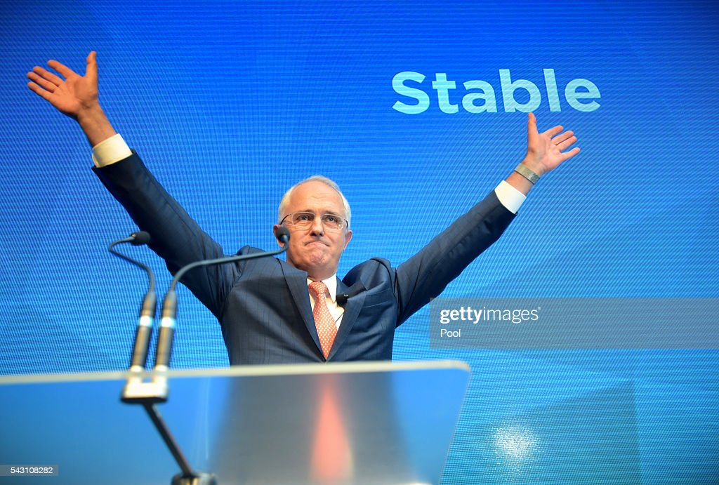 Australian Prime Minister Malcolm Turnbull reacts after addressing party members at the Coalition Campaign Launch in Sydney, Sunday, June 26, 2016. A federal election will be held in Australia on Saturday July 2.