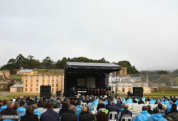 Australian Prime Minister Malcolm Turnbull speaks during the 20th anniversary commemoration service of the Port Arthur massacre on April 28 2016 in...