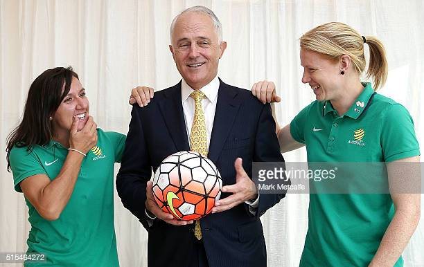 Australian Prime Minister Malcolm Turnbull Tunbull talks to Matildas cocaptains Lisa De Vanna and Clare Polkinghorne during a welcome home function...