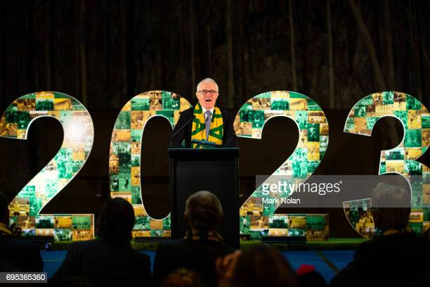 Australian Prime Minister Malcom Turnbull speaks during the Women's FIFA World Cup 2023 Bid announcement media opportunity at Parliament House on...