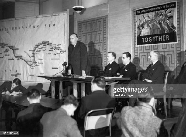 Australian Prime Minister Robert Menzies addresses a press conference at the Ministry of Information in London 21st February 1941 Menzies spent the...