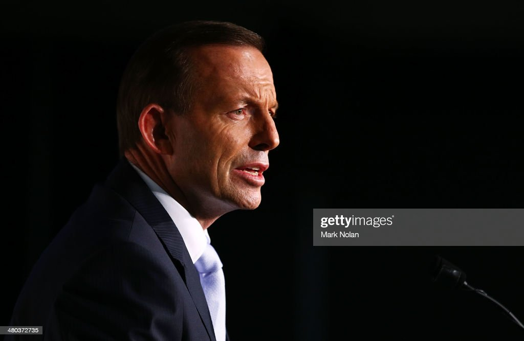 Australian Prime Minister <a gi-track='captionPersonalityLinkClicked' href=/galleries/search?phrase=Tony+Abbott&family=editorial&specificpeople=220956 ng-click='$event.stopPropagation()'>Tony Abbott</a> addresses the Asia Society Australia at the Hotel Realm on March 25, 2014 in Canberra, Australia. The Asia Society Australia was established in 1997 and is focussed on broadening the interests and understanding between Australia and the Asian business, political and cultural elite.