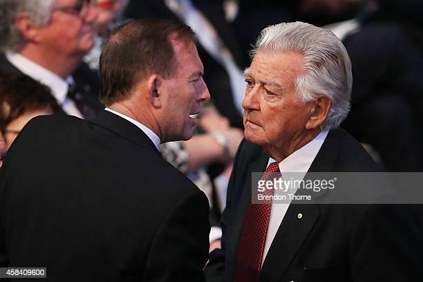 Australian Prime Minister Tony Abbott and former Australian Prime Minister Bob Hawke speak at the state memorial service for former Australian Prime...