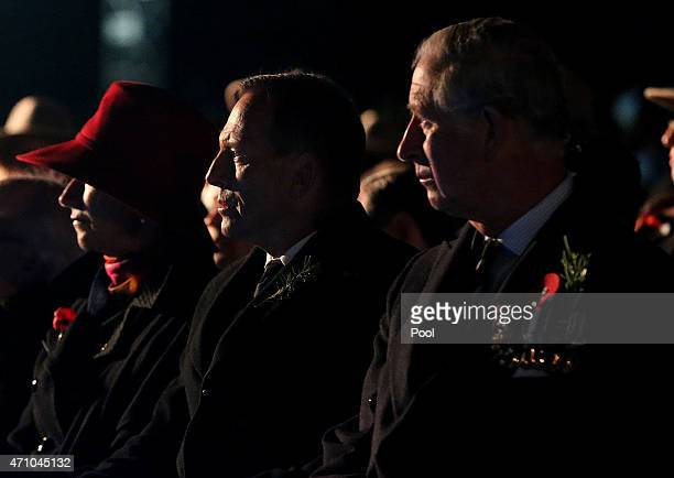 Australian Prime Minister Tony Abbott and the Prince Charles Prince of Wales attend a ceremony marking the 100th anniversary of the Battle of...