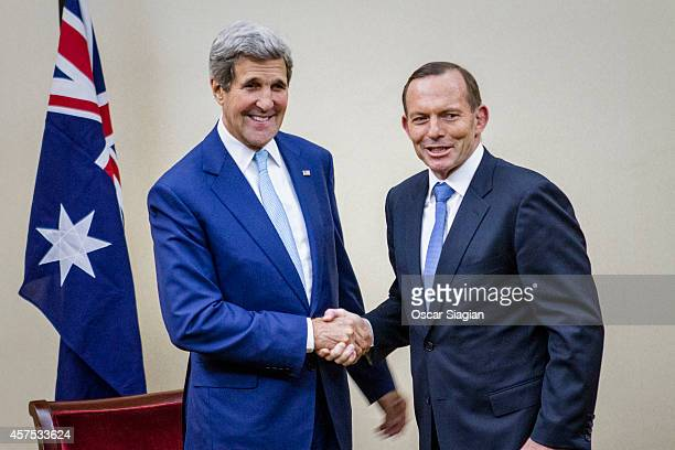 Australian Prime Minister Tony Abbott and US Secretary of State John Kerry meets for bilateral meeting during their visit for Indonesian President...