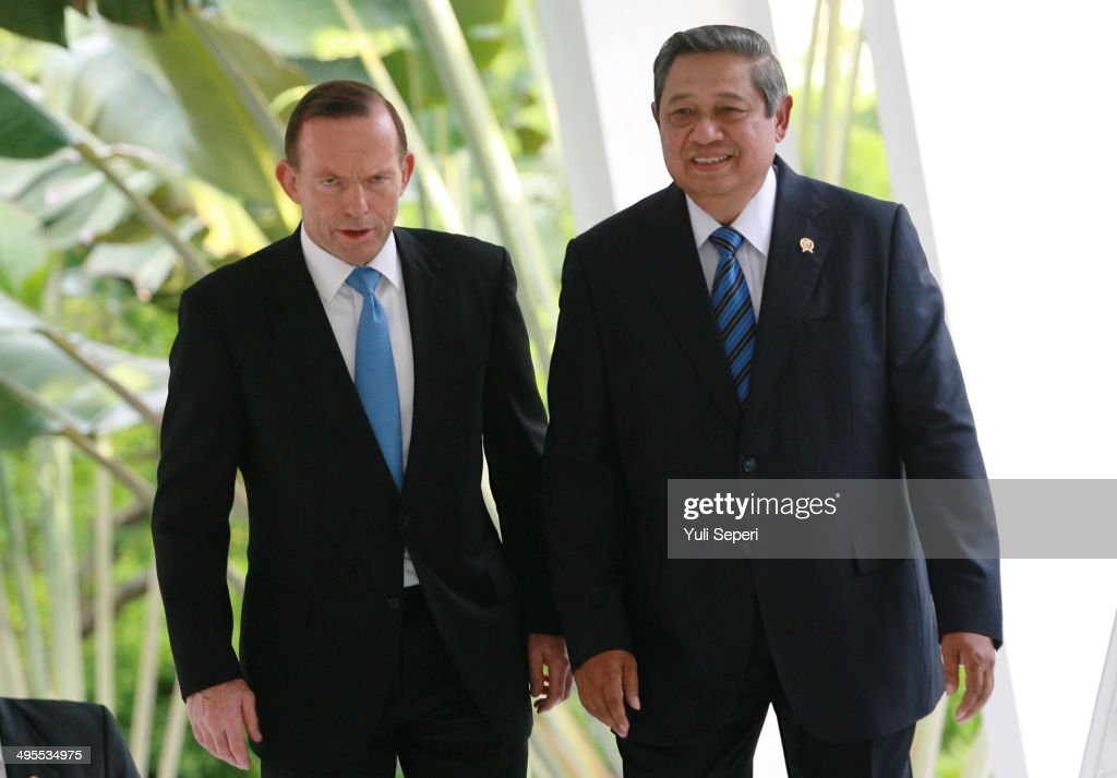 Australian Prime Minister, <a gi-track='captionPersonalityLinkClicked' href=/galleries/search?phrase=Tony+Abbott&family=editorial&specificpeople=220956 ng-click='$event.stopPropagation()'>Tony Abbott</a>, attends a meeting with Indonesia President, <a gi-track='captionPersonalityLinkClicked' href=/galleries/search?phrase=Susilo+Bambang+Yudhoyono&family=editorial&specificpeople=206513 ng-click='$event.stopPropagation()'>Susilo Bambang Yudhoyono</a>, on June 4, 2014 in Batam, Indonesia. The meeting is seen as a big step towards improving relations between Australia and Indonesia following issues around asylum seeker boats and phone tapping allegations against the Australians. Indonesia suspended intelligence and military cooperation with Australia, this will be the first time to two figures have met since the situation came to head six months ago.