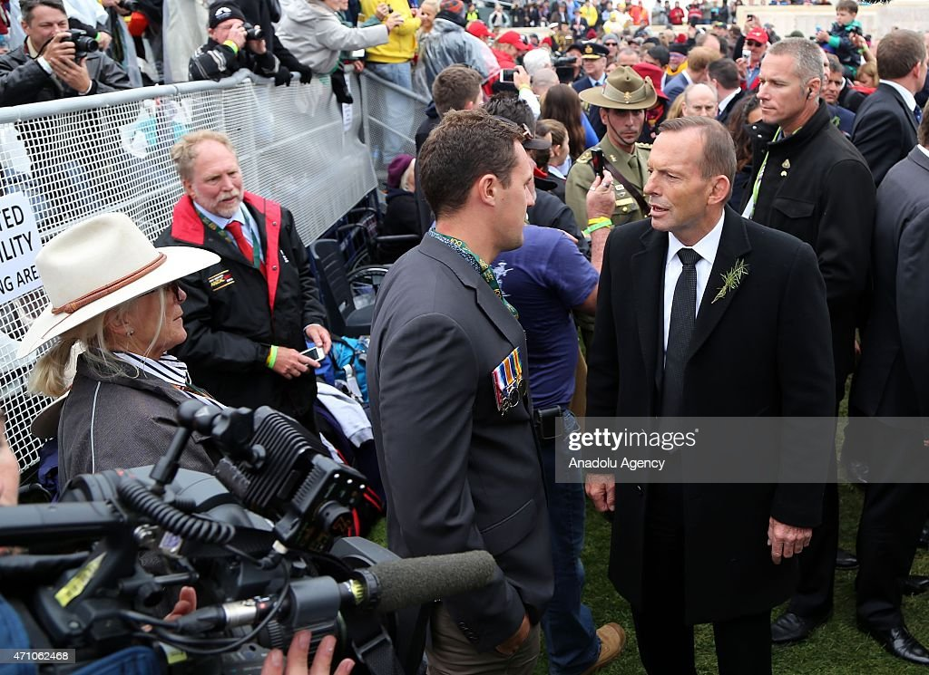 Australian Prime Minister Tony Abbott attends a memorial service at the Lone Pine memorial during a memorial service on the occasion of the 100th...