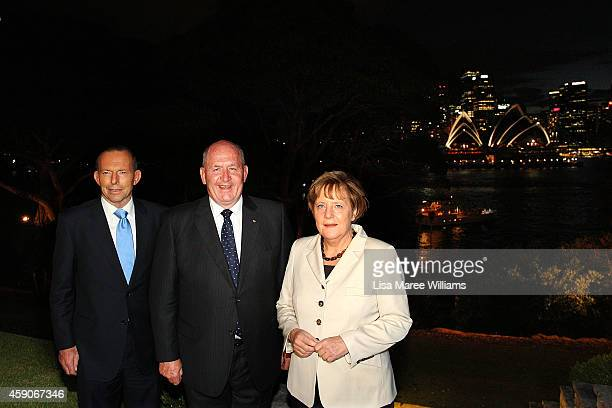 Australian Prime Minister Tony Abbott Australian GovernorGeneral Sir Peter Cosgrove and German Chancellor Angela Merkel arrive at Admiralty House on...