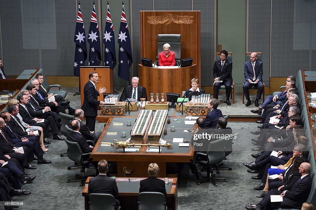 Australian Prime Minister Tony Abbott delivers an address to Members and Senators of the Parliament of Australia at Parliament House on July 8 2014...