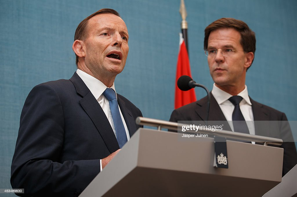 Australian Prime Minister <a gi-track='captionPersonalityLinkClicked' href=/galleries/search?phrase=Tony+Abbott&family=editorial&specificpeople=220956 ng-click='$event.stopPropagation()'>Tony Abbott</a> (L) gives a statement next to Dutch Prime Minister <a gi-track='captionPersonalityLinkClicked' href=/galleries/search?phrase=Mark+Rutte&family=editorial&specificpeople=4509362 ng-click='$event.stopPropagation()'>Mark Rutte</a> at the Catshuis on August 11, 2014 in The Hague, Netherlands. Abbott is in the Netherlands for a one-day official visit to talk with Rutte and other Dutch officials about the ongoing investigation into the shooting down of flight MH17.