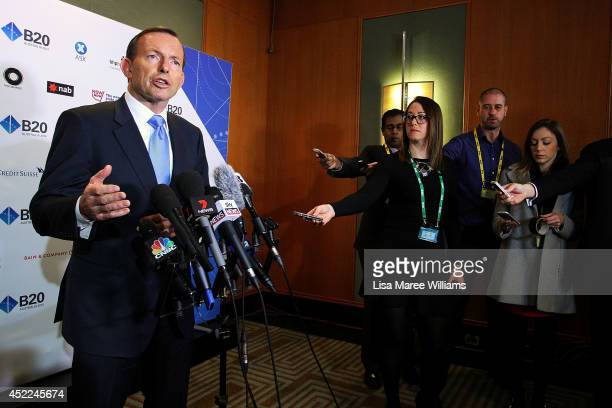 Australian Prime Minister Tony Abbott holds a press conference following his keynote speech during the B20 Summit on July 17 2014 in Sydney Australia...