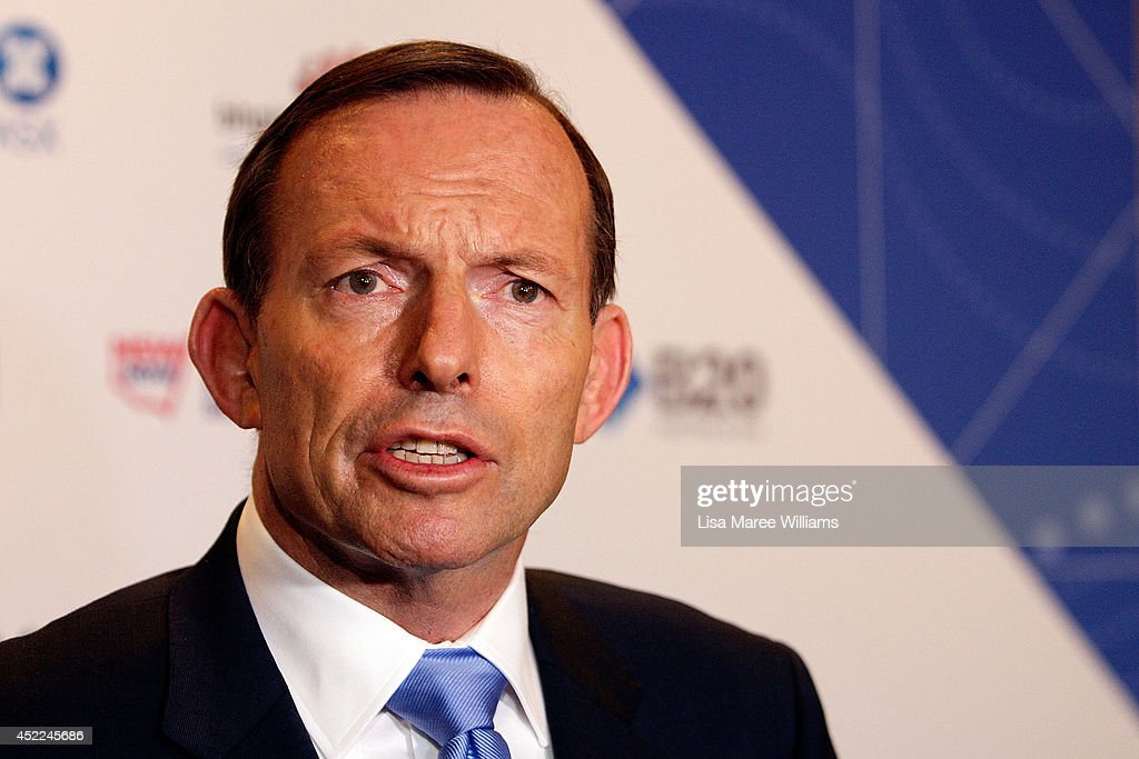 Australian Prime Minister <a gi-track='captionPersonalityLinkClicked' href=/galleries/search?phrase=Tony+Abbott&family=editorial&specificpeople=220956 ng-click='$event.stopPropagation()'>Tony Abbott</a> holds a press conference following his keynote speech during the B20 Summit on July 17, 2014 in Sydney, Australia. Over 350 business leaders have gathered in Sydney for the 2014 B20 Summit to discuss and determine policy recommendations ahead of the G20 Leaders Meeting in Brisbane later this year.