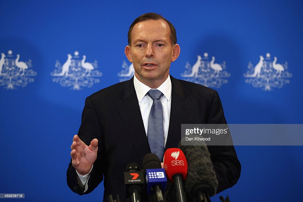Australian Prime Minister <a gi-track='captionPersonalityLinkClicked' href=/galleries/search?phrase=Tony+Abbott&family=editorial&specificpeople=220956 ng-click='$event.stopPropagation()'>Tony Abbott</a> speaks at a press conference on August 12, 2014 in London, England. Mr Abbott is visiting London for talks with the British government and officials about the situation in Iraq.