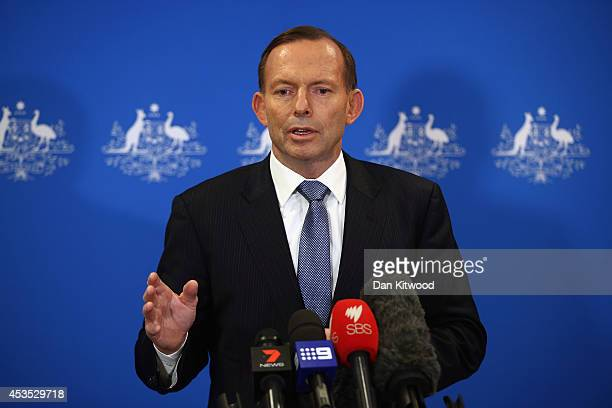 Australian Prime Minister Tony Abbott speaks at a press conference on August 12 2014 in London England Mr Abbott is visiting London for talks with...