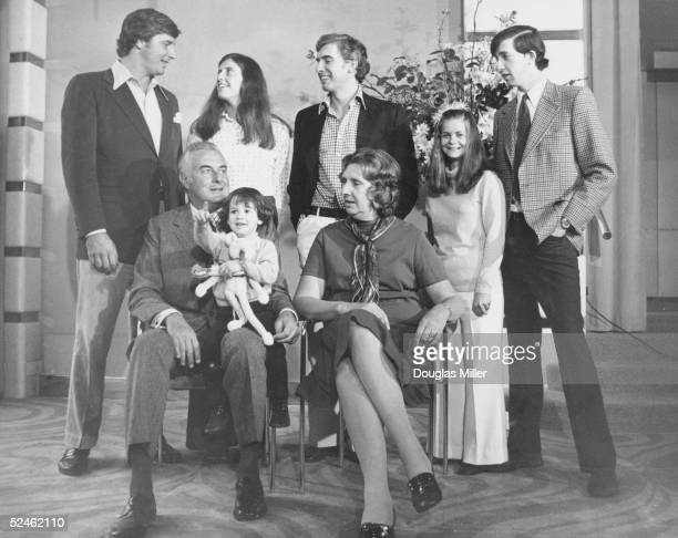 Australian Prime Minister Whitlam Gough with his family who are meeting for the first time in ten years at the Berkeley hotel during a visit to...