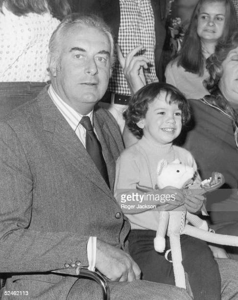 Australian Prime Minister Whitlam Gough with his two year old grandson Alexander during a family reunion at the Berkeley hotel in London 21st April...