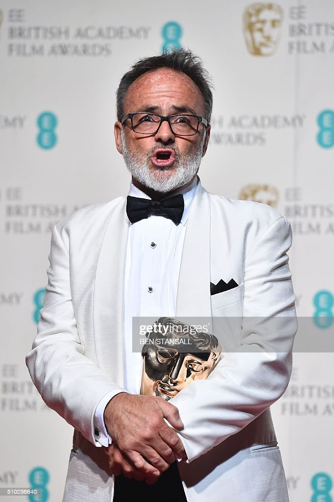 Australian production designer Colin Gibson poses with the award for production design for his work on the film 'Mad Max: Fury Road' at the BAFTA British Academy Film Awards at the Royal Opera House in London on February 14, 2016. AFP / BEN STANSALL / AFP / BEN STANSALL