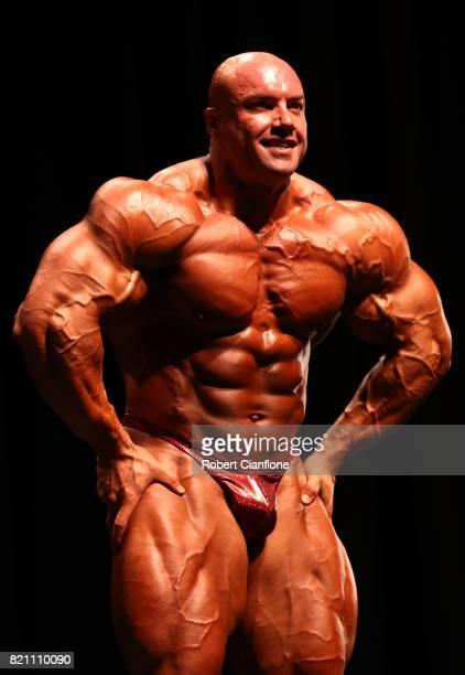 Australian Professional Bodybuilder Josh Lenartowicz guest poses during the 2017 Bendigo Country Classic on July 23 2017 in Bendigo Australia