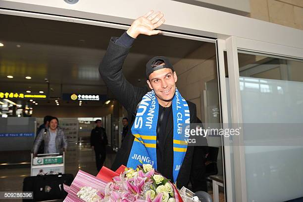 Australian professional footballer Trent Sainsbury arrives at Nanjing Lukou International Airport on February 9 2016 in Nanjing China Trent Sainsbury...