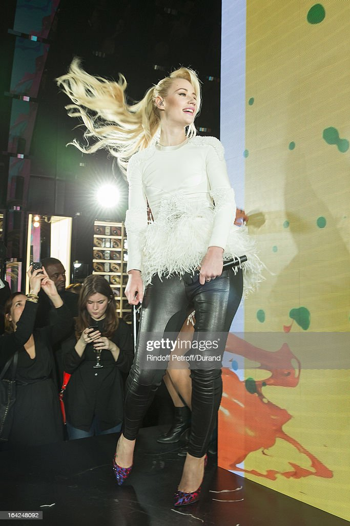 Australian rap singer <a gi-track='captionPersonalityLinkClicked' href=/galleries/search?phrase=Iggy+Azalea&family=editorial&specificpeople=8558263 ng-click='$event.stopPropagation()'>Iggy Azalea</a> performs during the MAC Cosmetics Champs Elysees Opening Party on March 21, 2013 in Paris, France.
