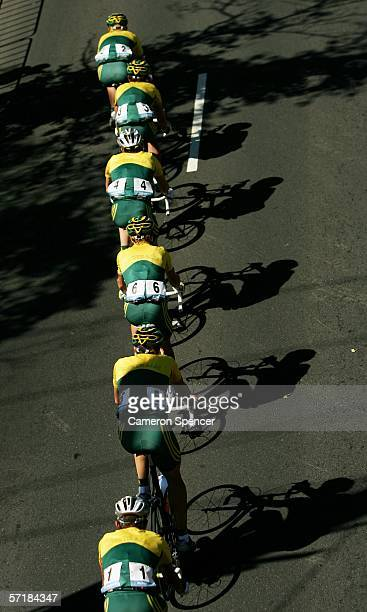 Australian riders lead the peloton in the Men's Road Race at the Royal Botanic Gardens Circuit during day eleven of the Melbourne 2006 Commonwealth...