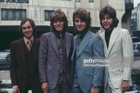 Australian rock and pop group The Mixtures posed together in front of the Dorchester Hotel in London in 1971