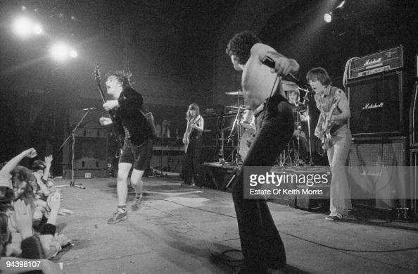 Australian rock band AC/DC perform at the Kursaal Ballroom on Canvey Island 19th March 1977 From left to right Angus Young Malcolm Young Bon Scott...
