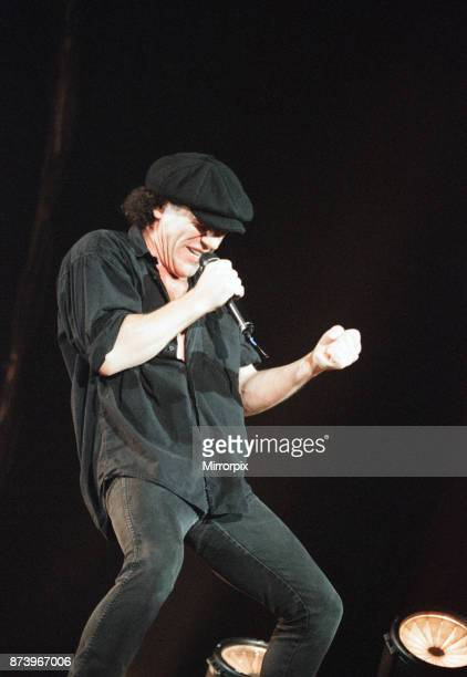 Australian rock group AC/DC performing in concert at the Newcastle Arena during their 'Ballbreaker' World tour singer Brian Johnson 3rd June 1996