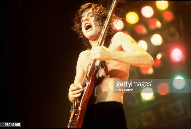 Australian rock group AC/DC performs at the Rosemont Horizon Chicago Illinois September 20 1980 Pictured is Angus Young