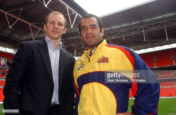 Australian rugby captian Darren Lockyer with Catalans Dragons' captian Stacey Jones during a walkabout at Wembley Stadium London