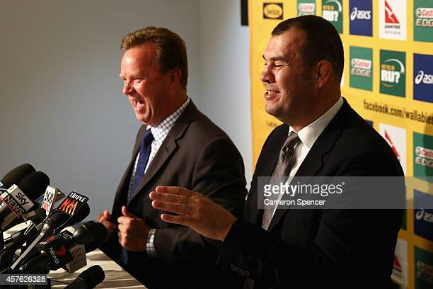Australian Rugby CEO Bill Pulver and newly appointed Australian Wallabies coach Michael Cheika share a laugh during an Australian Wallabies press...