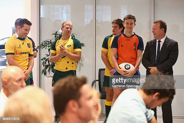Australian Rugby CEO Bill Pulver Bernard Foley of the Wallabies and Pathway to Gold players are introduced during a major partnership announcement...