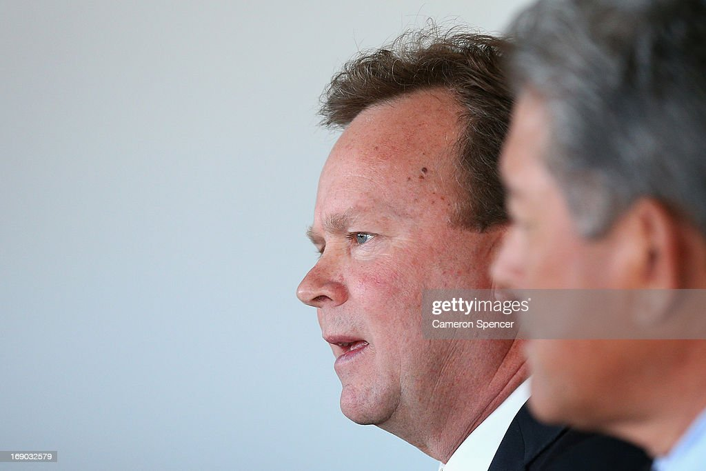 Australian Rugby CEO Bill Pulver talks during an Australian Wallabies ARU press conference at Museum of Contemporary Art on May 19, 2013 in Sydney, Australia.