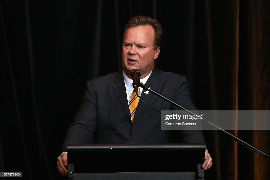 Australian Rugby CEO Bill Pulver talks during the Australian Wallabies jersey launch at All Sorts Sports Factory on May 4, 2016 in Sydney, Australia.