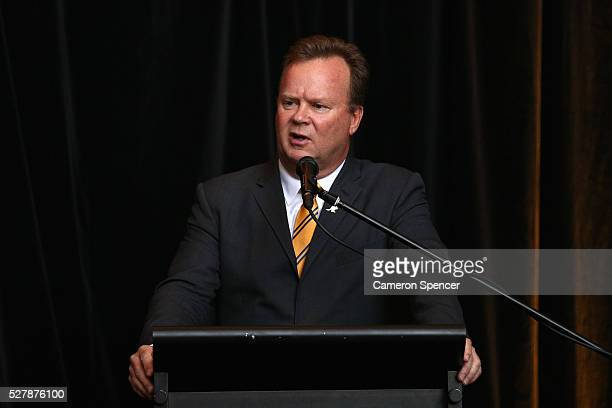 Australian Rugby CEO Bill Pulver talks during the Australian Wallabies jersey launch at All Sorts Sports Factory on May 4 2016 in Sydney Australia
