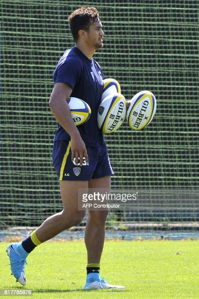 Australian rugby player Peter Betham takes part in the first training session of the 20172018 rugby union season of ASM ClermontAuvergne at the...