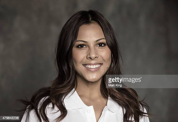 Australian rugby sevens player and Olympic prospect Tiana Penitani poses during a portrait session at Australian Technology Park on July 8 2015 in...