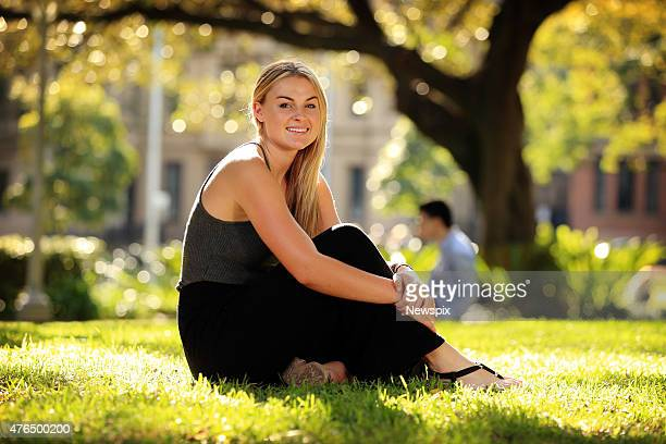 Australian rugby sevens player Georgia Page poses at Hyde Park in Sydney New South Wales after a video of her breaking her nose playing rugby in the...