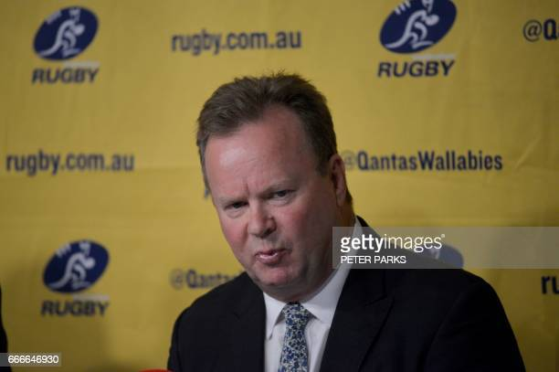 Australian Rugby Union CEO Bill Pulver speaks at a press conference in Sydney on April 10 2017 Two South African teams and one from Australia will be...