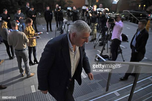Australian Rugby Union Chairman Cameron Clyne leaves a press conference in Sydney on June 20 2017 The Australian Rugby Union on June 20 endorsed the...