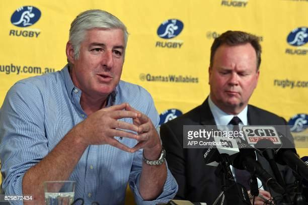 Australian Rugby Union chairman Cameron Clyne speaks as Bill Pulver CEO of the ARU looks on at a press conference at ARU headquarters in Sydney on...