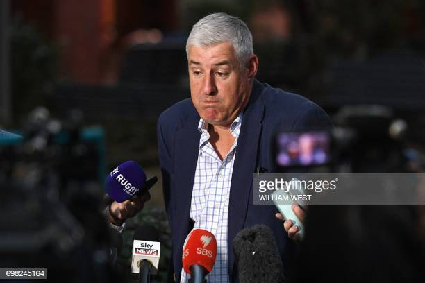 Australian Rugby Union Chairman Cameron Clyne speaks at a press conference in Sydney on June 20 2017 The Australian Rugby Union on June 20 endorsed...