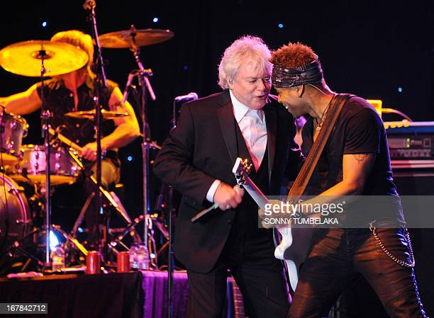 Australian Russell Hitchcock vocalist for AustralianBritish music duo Air Supply performs onstage during their 2013 World Tour in Kuta Indonesia's...