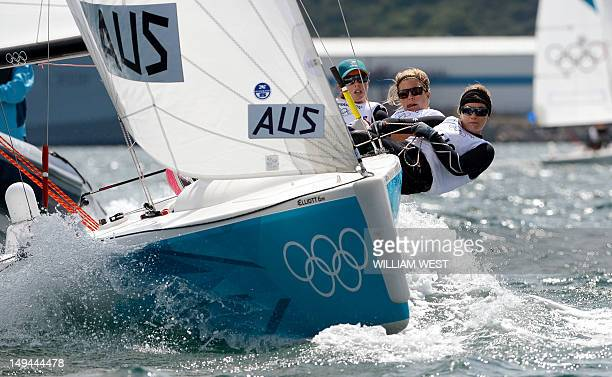 Australian sailors Olivia Price Nina Curtis and Lucinda Whitty compete in a practice race in the Elliott sailing class for the London 2012 Olympic...