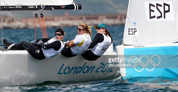 Australian sailors Olivia Price Nina Curtis and Lucinda Whitty watch as their Spanish competitors approach in a practice race in the Elliott sailing...